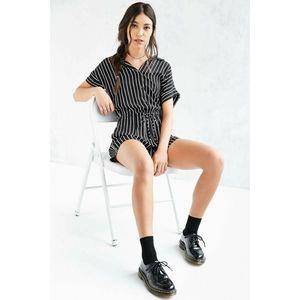 BDG   Vertical Stripe Short Sleeve Shirt Romper